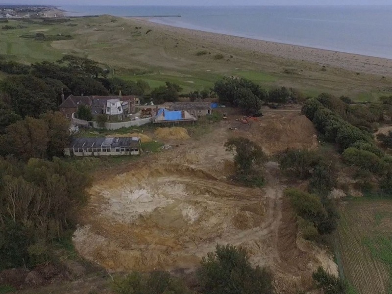 An aerial view of the location