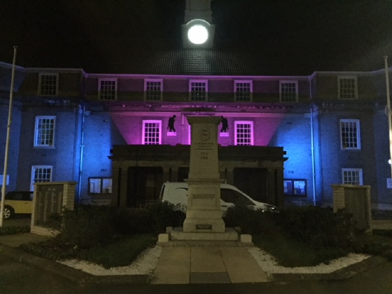 Bognor Regis Town Hall, Lit with pink and blue lights