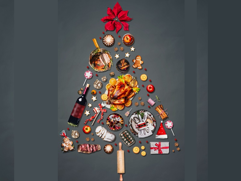 Christmas food items shaped into a Christmas tree