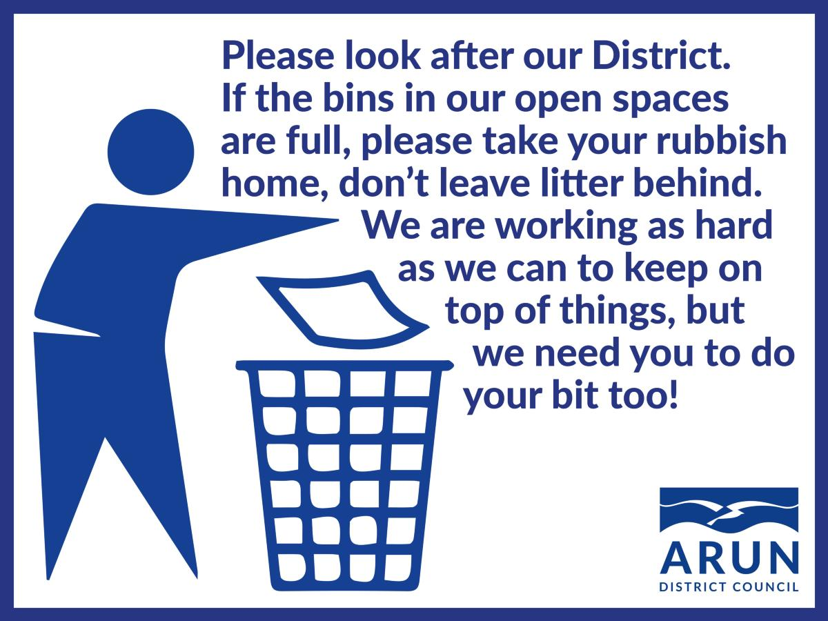 Message to please take your litter home with you , Link opens in a new window to the Arun District Council website