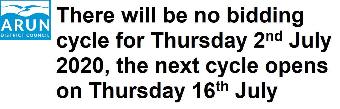 There will be no bidding cycle for Thursday 2nd July 2020, the next cycle opens on Thursday 16th July